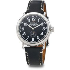 Shinola Runwell Stainless Steel & Leather Strap Watch/Black (2,185 ILS) ❤ liked on Polyvore featuring jewelry, watches, apparel & accessories, black, stainless steel jewelry, polish jewelry, water resistant watches, stainless steel watches and bezel watches
