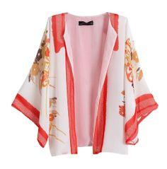 Retro etnia tarja flor estilo quimono ampla casaquinho manga blusa top #y73