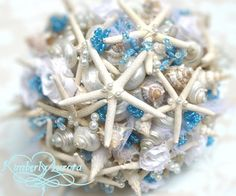 Made to Order Custom Details Bridal Bouquet of Shells (Blue Starfish Style).