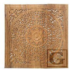 Brown Stained Lotus Wood Carving Home Wall Panel Mural Decor Art Statue FS gtahy