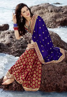 Red and blue saree