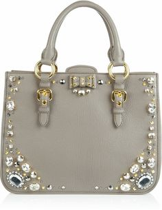 Miu Miu Crystal Embellished Studded Leather Tote in Gray (taupe)