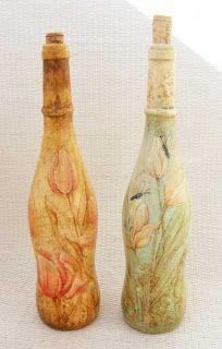 deququ decoupage: Tulipanowe butelki - kredki akwarelowe