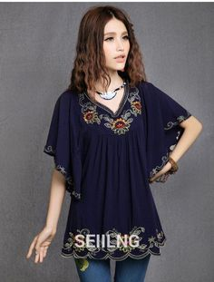 New Fashion 2016 Summer Elegant Women Vintage Floral Embroidered Blouse Shirts Casual V-Neck Loose Tops Batwing Sleeve Blouses