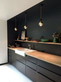 Arbeitsplatte Küche Schwarz MattSelecting the perfect kitchen countertop is no easy task with so many beautiful options to choose from. Ikea Kitchen Design, Kitchen Cabinet Design, Kitchen Designs, Kitchen Layout, Ikea Kitchen Units, Black Kitchens, Home Kitchens, Kitchen Black, Small Kitchens