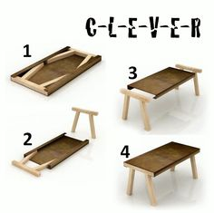 Very cool! Probably 11 pieces of wood? 5 for the table and 6 for the legs? make it small and it's a laptop/monitor stand...