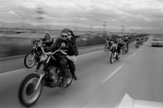 "Hells Angels cruise north from San Bernardino to Bakersfield, 1965. Today, when a hugely popular TV show like Sons of Anarchy brings the outlaw-biker aesthetic into living rooms every week, it's easy to forget how thoroughly (and willfully) the Angels shocked and frightened ""polite"" society 45 years ago. ""Some of them are pure animals,"" Birney Jarvis, a one-time Hells Angel who later became a newspaper police reporter, once said. ""They'd be animals in any society. These guys ... should have…"