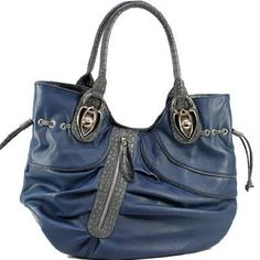 47a1052a158 Amazon.com  Pleated Dasein Shoulder Bag Navy Blue Simulated Leather  Shoes  Tote Backpack