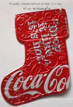 Lg Stocking Handmade Christmas Ornament Recycled Coca Cola Share A Song Can Art
