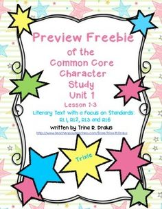Character Study/Intro to Reading Workshop Freebie Preview