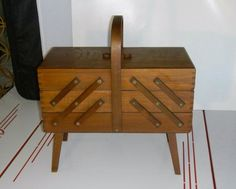 Eames Era Fold-Out Accordion Wooden Sewing Box
