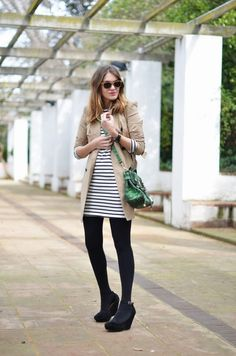 striped dress & trench jacket