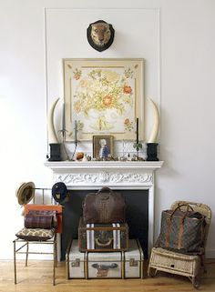 Framed Hermes scarf! Louis Luggage! Animal Print! Old architectural details!!! I LOVE ALL OF THESE THINGS! #mderr