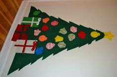 Toddler felt Christmas tree. hang on wall with command strips
