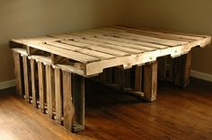 make a few alterations but an awesome pallet bed. - make a few alterations but an awesome pallet bed. Pallet Bed Frames, Diy Pallet Bed, Wooden Bed Frames, Wooden Pallet Furniture, Wooden Pallets, Bed Furniture, Diy Storage Crate, Bed Storage, Pallet Storage