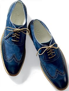 I think I know just the guy for these shoes! He just LOVES blue!  If your groom is someone who never shies from a pop of color in his wardrobe, let him show that in his wedding-day attire! These would look great with a grey suit, a popular -- and SHARP -- look for any time of the year.