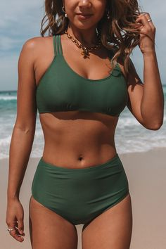 About me: Strappy Back High Waist Army Green Bikini Set High waist Spaghetti strap Padded Skin frie Vintage Swimsuits, Cute Swimsuits, Two Piece Swimsuits, Women Swimsuits, Bikini Vintage, Green Bikini Set, Green Swimsuit, Bikini Outfits, Cute Bathing Suits