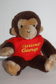 Gund 12'' Plush Classic CURIOUS GEORGE In Red Shirt Loved Cuddly Toy #Gund