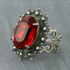 20a61ebfb43 Christmas Ring Red Ring Red Swarovski Crystal Ring Red Steampunk Ring  Cocktail Ring Statement Ring Gothic