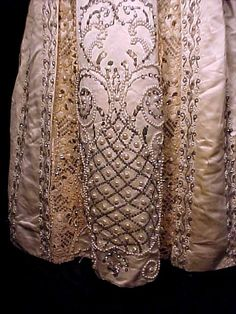 1900 Renaissance Revival Fancy Ball Gown of Heavy Silk and Lace encrusted with Pearls, Beads and Rhinestones