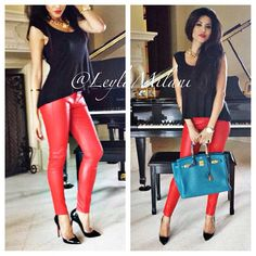 My #ootd for everyone asking. Lipstick red stretch leather pants by Current/Elliot, freepeople top, christianlouboutin pigalle hermes birkin35 in bleuizmir versace necklace. I rocked my hair in its natural straight texture since my power was out all morning! Lol #leylamilani #milanihair