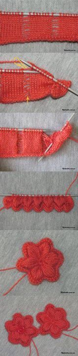 Photo tutorial for a pretty knitted flower #knitting