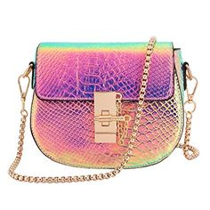 Candice Women Shiny Charming Chain Hologram Holographic Handbag Shoulder Bag Crossbody Bag for Gift - Parent Chain Crossbody Bag, Clutch Purse, I Love Makeup, Chain Shoulder Bag, Shoulder Bags, Small Wallet, Holographic, Evening Bags, Pu Leather