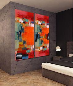 XXL tweeluik schilderij in een moderne slaapkamer, dit kunstwerk is genaamd 'The Voyage' en geschilderd door Irina. Dit extra groot formaat acryl schilderij is uitstekend geschikt voor grote muren in je interieur, de woonkamer, de hal of de slaapkamer. Uiteraard zijn grote schilderijen ook prima toe te passen op kantoor of in ontvangstruimtes. Klik hier boven op de bron en bekijk alle XXL-schilderijen in webwinkel www.kunstvoorjou.nl