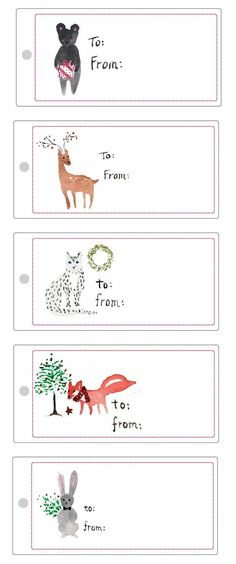 Free Illustrated Gift Tag Printables - Sanae Ishida