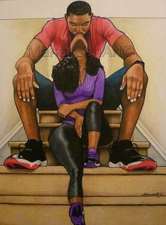 I love black art and black LOVE Black Couple Art, Black Girl Art, Black Couples, Tribal Tatoos, Image Couple, Natural Hair Art, Black Art Pictures, Black Love Images, Art Africain