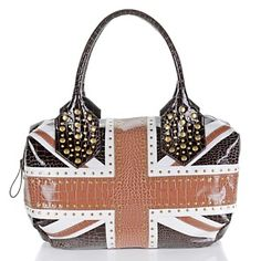 twiggy LONDON Union Jack and Croco-Embossed Studded Handbag at HSN.com.