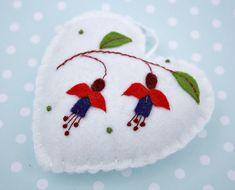 Felt Christmas ornament, Felt heart ornament, Handmade floral felt heart, Red and white Fuchsia flower heart, embroidered felt heart.