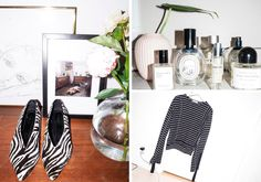 """""""My Céline zebra shoes, and print that I got from a friend. My favorite perfumes – I like to change from time to time.     Top from Celine."""""""