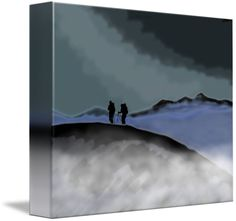 """the last remaining light"" by Jane (Jinx) Tellam, Buxton, Peak District // two climber wait on a mountain summit for a third climber to finish their ascent at dusk whilst a mist slowly rolls into the valley, by J.M.Tellam BA (hons) created 2014, copyright Mindgoop // Imagekind.com -- Buy stunning fine art prints, framed prints and canvas prints directly from independent working artists and photographers."