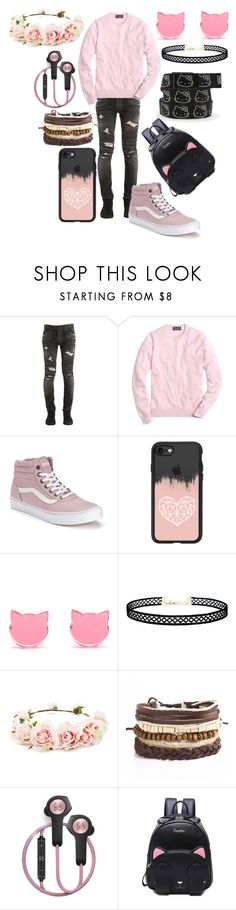 """""""Untitled #742"""" by dino-satan666 ❤ liked on Polyvore featuring Balmain, Brooks Brothers, Vans, Casetify, LULUS, Forever 21, Hello Kitty and B&O Play"""