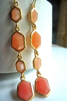 CLEARANCE SALE Shades of Coral Gold Bezel by JeweltoneJewelry, $20.00