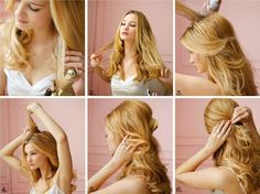 really cute hair and really easy to do all you do is make sure you have no tangles in your hair curl and grab the two ends and clip together than wala