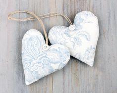 Pair of Light Blue Toile Lavender Sachet Hearts by BailiwickStudio