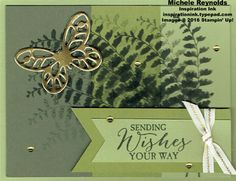 "Handmade birthday card using Stampin' Up! products - Butterfly Basics Stamp Set, Banner Triple Punch, 1/4"" Natural Trim, Metallic Enamel Shapes, Gold Foil Sheets, and Bold Butterfly Framelits.  By Michele Reynolds, Inspiration Ink."