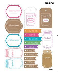 Etiquettes-confiture Printable Labels, Printable Stickers, Printable Paper, Planner Stickers, Free Printables, Impression Etiquette, Silhouette Cameo, Silhouette Portrait, Envelopes