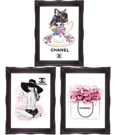 French bulldog art teacup art girl with hat art floral bag 3 A4 print wall art  in Art, Direct from the Artist, Prints   eBay!
