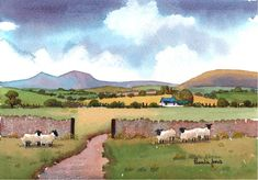 ACEO Watercolour Print from my original watercolour Farm Sheep In The Brecon Beacons Wales UK Miniature Art and Collectables Watercolor Landscape, Watercolor Print, Watercolour Painting, Watercolours, Watercolor Barns, Beautiful Paintings, Beautiful Landscapes, Pamela Jones, Brecon Beacons