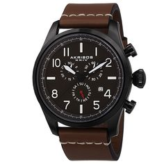 Akribos XXIV does it again with this bold men's watch! This timepiece features a Swiss quartz movement with chronograph subdials. The stainless steel case and genuine leather strap make this an extremely sturdy piece and a must have for every man.