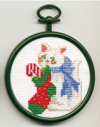 """Kitten 2.89"""", Counted Cross Stitch Mini Kit. Kit contains 18-count Aida Fabric, 6 ply cotton floss, needle, chart, frame and easy-to-follow instructions."""