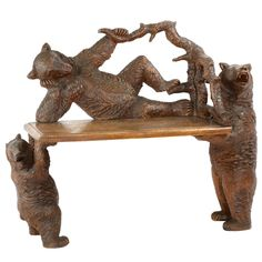 'The Three Bears' Black Forest carved bench, 1870