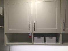 Open shelve under the cabinet - All The Laundry Room Plans | Chris Loves Julia