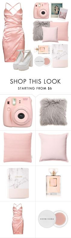 """""""netflix and dream?"""" by infonatka ❤ liked on Polyvore featuring Fujifilm, Polaroid, Nomess, Celebrate Shop, Chanel and Herbivore"""