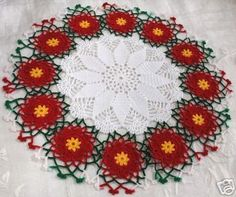 RED POINSETTIA LACE CROCHET DOILY