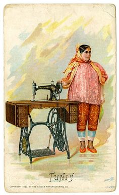 Singer Sewing Machine's World, 1892, Tunis Trade Card