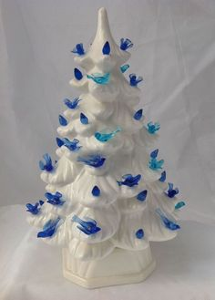 Lighted Ceramic Christmas Tree Nowell Sierra Spruce 17 inch Blue w ...